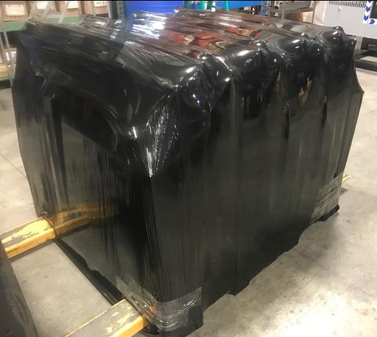 Pallet Load Wrapped in Black Stretch Wrap by TAB Wrapper Tornado