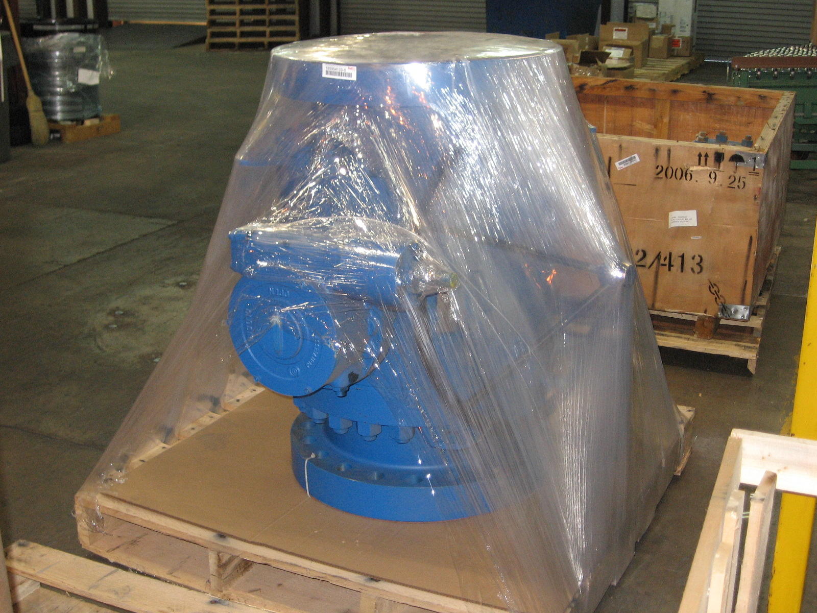 Large Metal Valve Palletized and Wrapped with TAB Wrapper Tornado