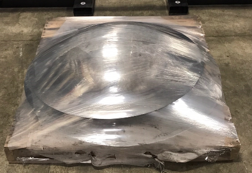 Palletized Metal Parts Wrapped in Durable Stretch Wrap by TAB Wrapper Tornado