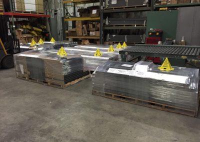 Wrapped Pallets of Steel Doors and Door Frame